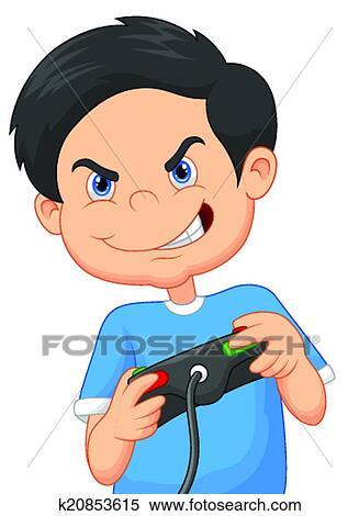 Enfant dessin anim jeux jeux sur vid o clipart k20853615 fotosearch - Image de dessin anime ...