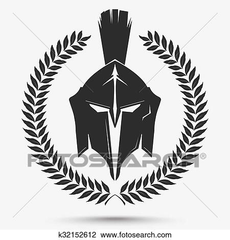 Clipart Of Gladiator Helmet With Laurel Wreath K32152612