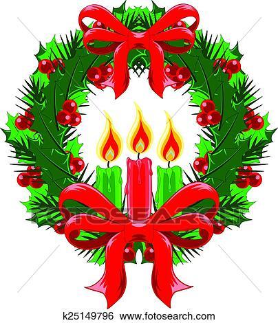 Clipart no l couronne arcs et bougies k25149796 - Clipart couronne ...