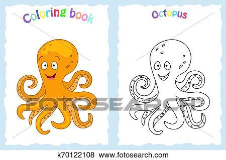 Libro Colorear Página Para Niños Con Colorido Pulpo Y