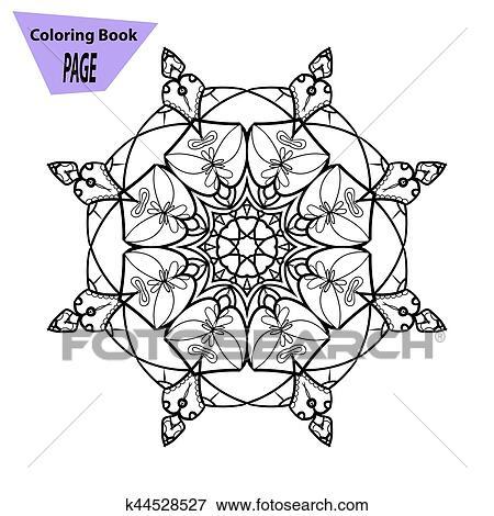 Mandala Coloring Page Vintage Decorative Elements Oriental Pattern Vector Illustration Clip Art K44528527 Fotosearch