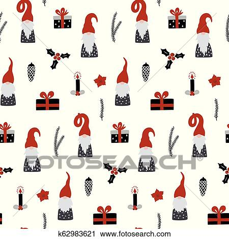 Christmas Gnomes Clipart.Seamless Pattern With Nordic Gnomes And Christmas Festive Decorations Clipart