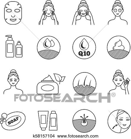 Skin care vector icons  Prevention of aging and eliminating of wrinkle  pictograms Clipart
