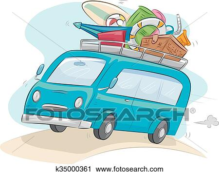 Clipart Of Camping Car Ride Travel K35000361
