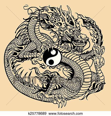 Clip Art Of Dragon Holding Yin Yang Symbol K25778689 Search