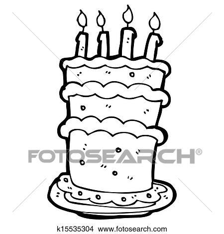 Dessin - grand, dessin animé, gâteau anniversaire. Fotosearch - Recherche  de Clip Arts 009d41ee5301