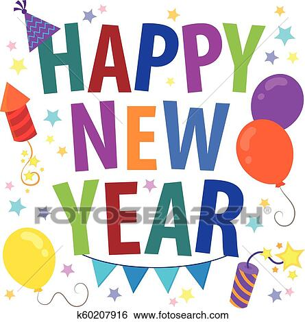 clip art happy new year theme 3 fotosearch search clipart illustration posters