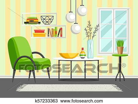 Interior Living Room Furniture And Home Decor Clipart K57233363