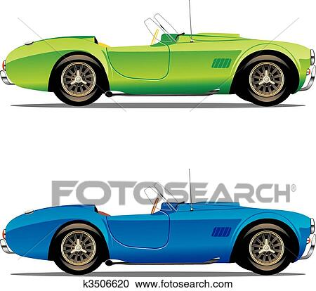 Isolated convertible cars Clipart