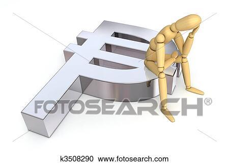 Stock Illustrations Of Lay Figure Sitting On Peso Symbol K3508290