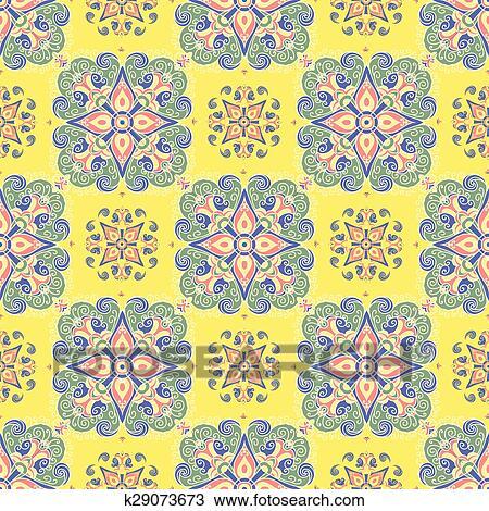 Main Dessin Carreau Vendange Couleur Seamless Parttern Italien Majolica Style Clipart