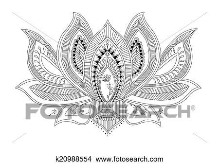 Mandala Lotus Flower Tattoo Stock Illustration
