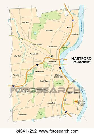Road map of hartford, the capital of the US State Connecticut Clipart