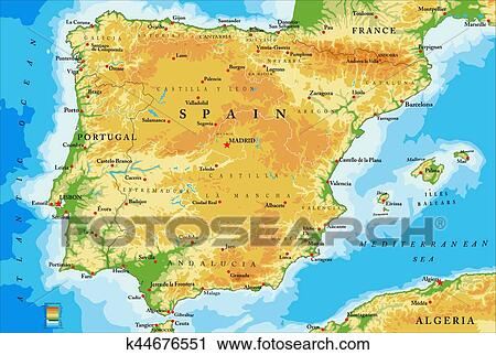 Clipart of Spain physical map k44676551 - Search Clip Art ...