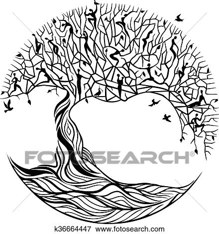 Tree Of Life On A White Background Clip Art K36664447