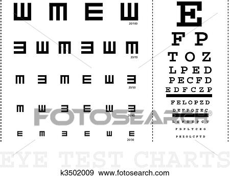 Clip Art Of Vector Snellen Eye Test Charts For Children And Adults