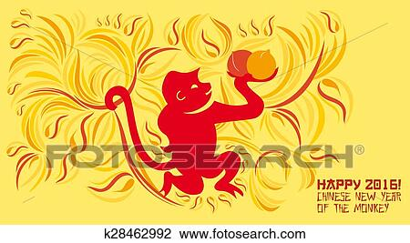 Clip art of chinese new year greeting card k28462992 search clip art chinese new year greeting card fotosearch search clipart illustration posters m4hsunfo