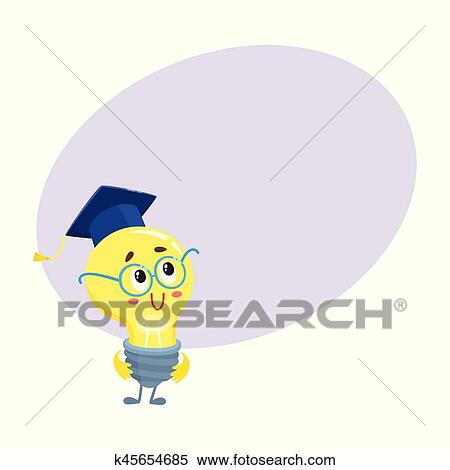 clipart of cute light bulb character wearing round glasses and