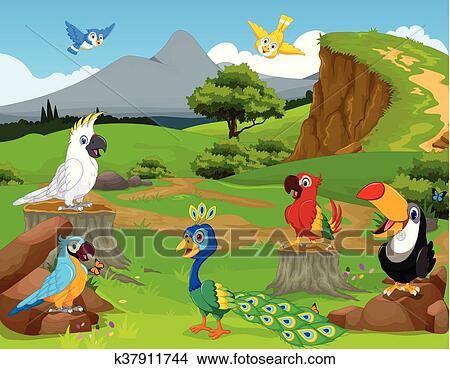 Divertente uccelli cartone animato il giungla clipart