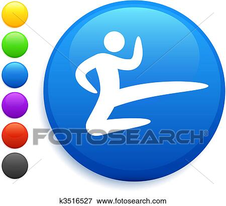 Clip Art Of Karate Icon On Round Internet Button K3516527 Search