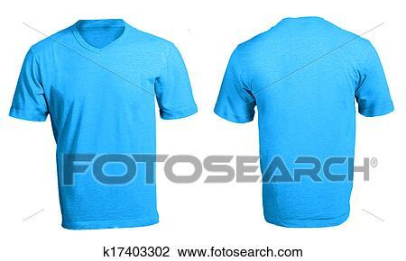 Stock Photo Of Mens Blank Blue V Neck Shirt Template K17403302