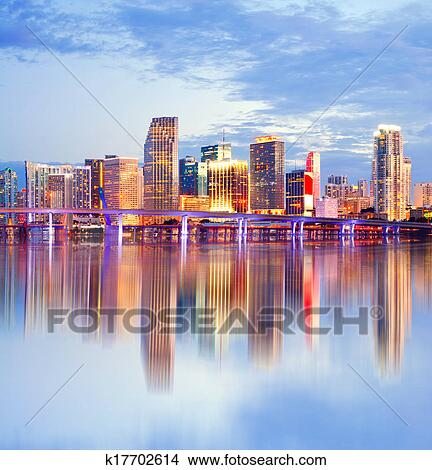 Miami Florida Sunset Skyline With Reflections