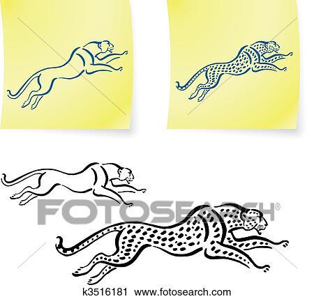 Onca Pintada E Leopardo Desenhos Ligado Poste Notas Clipart
