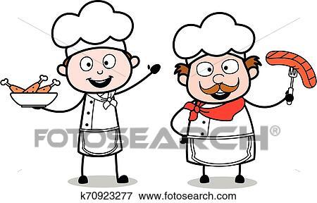 Presenting Non Veg Food Cartoon Waiter Male Chef Vector Illustration Clip Art K70923277 Fotosearch