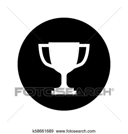 trophy cup icon in black circle simple winner icon clip art k58661689 fotosearch https www fotosearch com csp351 k58661689