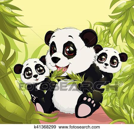 Very Cute Panda Eating Bamboo Clip Art K41368299 Fotosearch