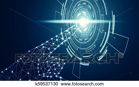Abstract Hand Wireframe Digital Technology Concept The