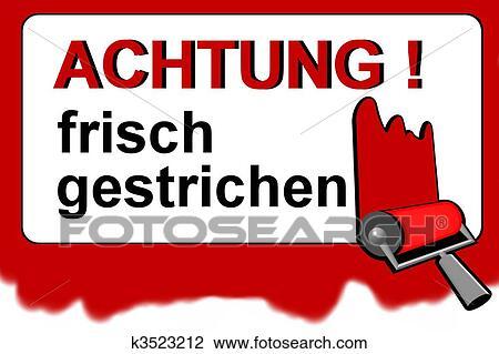 Achtung Deutsch Nasse Farbe Warnzeichen Clip Art