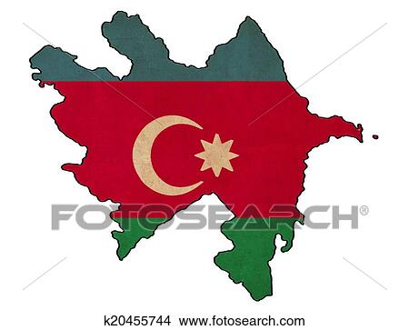Azerbaijan Map On Azerbaijan Flag Drawing Grunge And Retro Flag Stock Illustration K20455744 Fotosearch