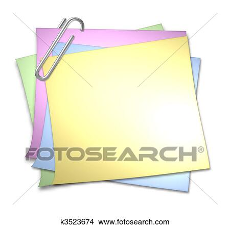 Blank Memo | Drawings Of Blank Memo With Paper Clip K3523674 Search Clip Art