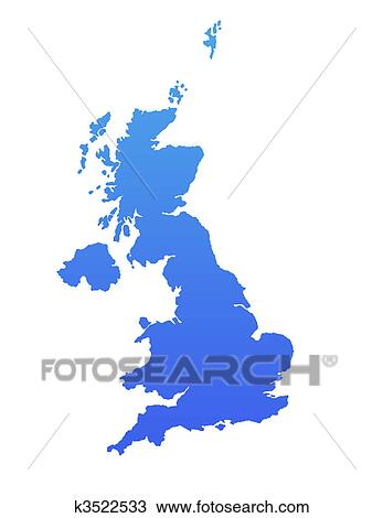 Drawing Of Blue England Map K3522533 Search Clipart Illustration