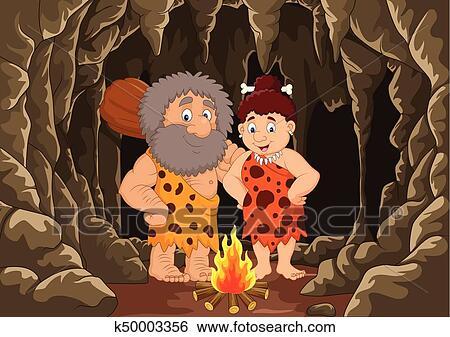 Cartone animato preistorico caveman coppia con caverna fondo