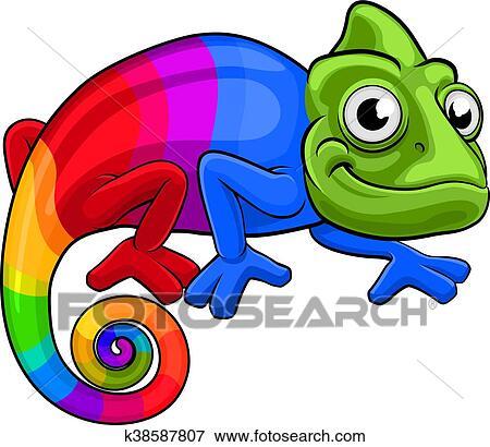 clip art of chameleon cartoon rainbow mascot k38587807 search rh fotosearch com chameleon clipart transparent chameleon clip art black white