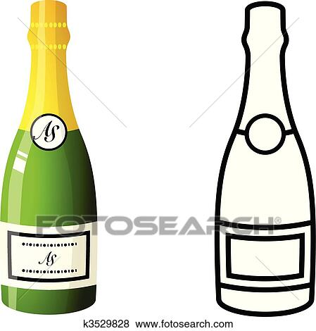 clip art of champagne bottle k3529828 search clipart illustration rh fotosearch com champagne bottle clip art free champagne bottle popping clip art