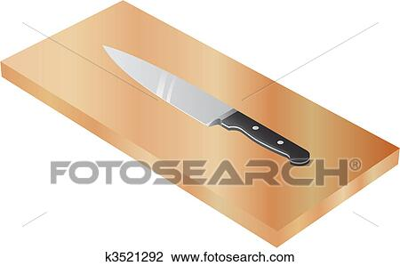 Clipart Of Chef S Knife On Wood Cutting Board K3521292 Search Clip