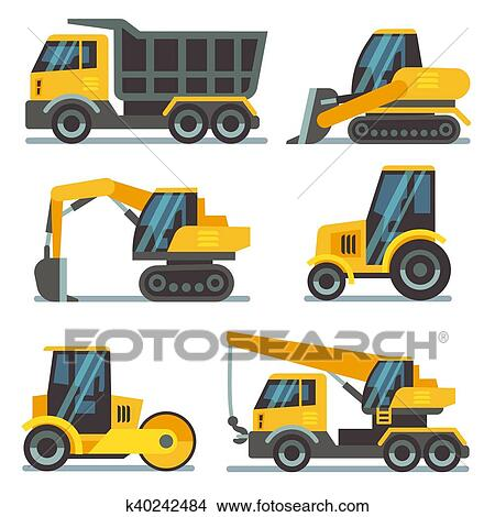 Construction Machines Heavy Equipment Vehicles Flat Vector Icons