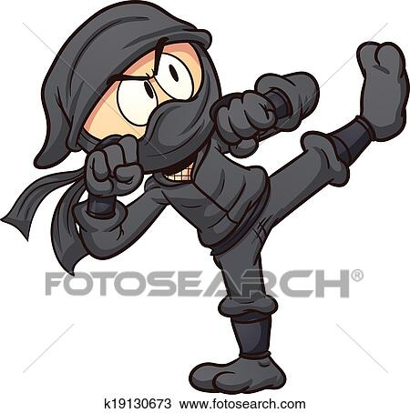 Dessin anim ninja clipart k19130673 fotosearch - Dessin anime ninja ...