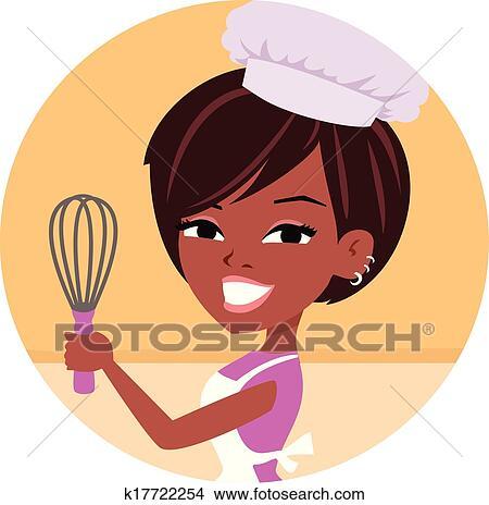 Clipart Femme Boulanger Chef Cuistot Américain Africain