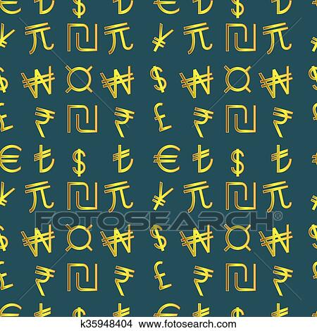 Clipart Of Golden Currency Symbols Of The World K35948404 Search