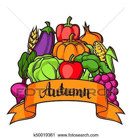 Harvest festival background. Autumn illustration with ...