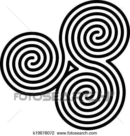 Clipart Keltisches Doppelgänger Spiralen Labyrinth K19678072