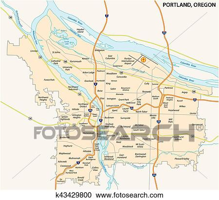 Portland road and neighborhood map Clipart