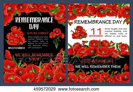 Remembrance Day Poster With Red Poppy Flower Frame Clip Art