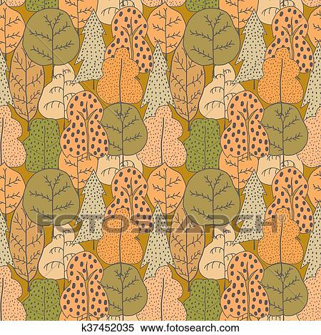 Seamless Colored Pattern With Trees Seamless Vector Illustration With Trees Easy Editable Pattern For Your Design Wallpaper Background Hand