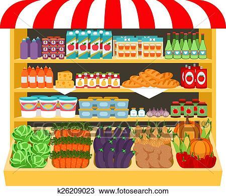 Supermarket. Food on shelves Clipart | k26209023 | Fotosearch