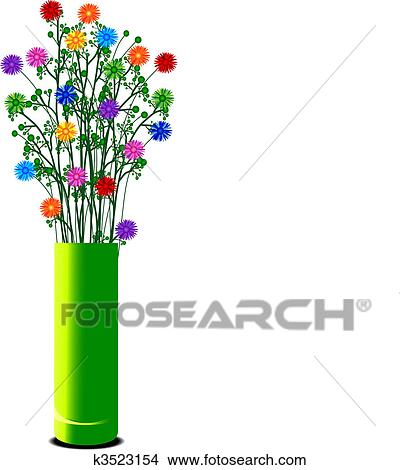 Drawings Of Vase With Colorful Flowers K3523154 Search Clip Art